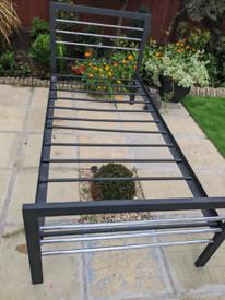 Solid metal single bed frame