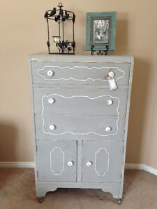 """Adelaide"" Dresser Paris Grey with White Detailing - Pretty!"
