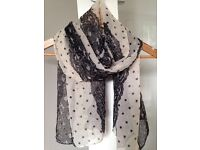 Brand New Lace and Dot Print Scarf