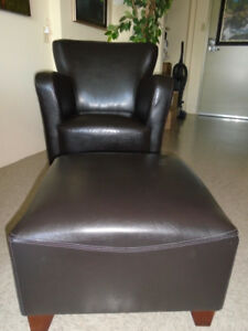 Beautiful Leather Chair & Ottoman