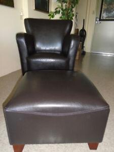 Beautiful Leather Chair & Ottoman