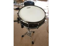 "Black Panther Black Widow 14"" Snare Drum Mapex With Pearl Stand"