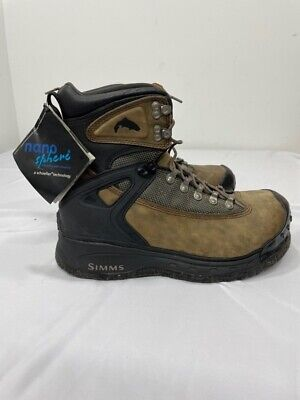 Simms Mens G3 Guide Fishing Wading Boots Brown Black Lace Up 10 M New