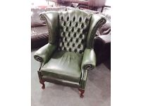 As new chesterfield wingback armchair