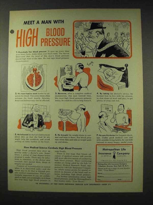 1948 Metropolitan Life Insurance Ad - Blood Pressure