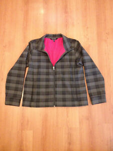 Women's large grey plaid outer, pink fleeced lined