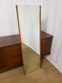 Vintage mid century teak trimmed floor mirror