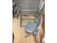 glass desk and chair £35 only!mint condition