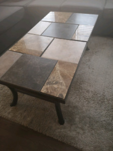 Coffee Table with 2 Side stands Marble Tile