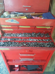Vintage snap on locking tool chest and hutch filled with tools.