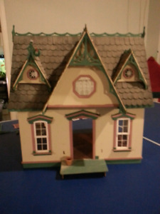 Wood Doll House with Furnishings