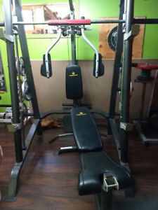 bench press , dumbel , poids , leg press , dip station , bar