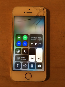 WHITE GOLD IPHONE 5S SHATTERED SCREEN
