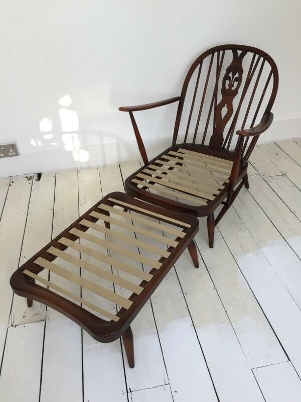 Vintage Ercol 203 Easy Chair Armchair Lounge Footstool