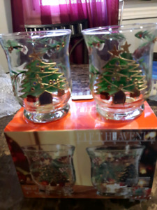 """BRAND NEW Set of 2 Votives4.5"""" each.  Hand painted Glass"""