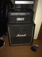 Crate amp head with vintage Marshall cabinet