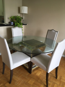 Styled Mirrored Round Dinning Table and Four Chairs