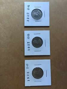 Coins - Canadian 5 cent coins (Graded, 1922, 27, 29)
