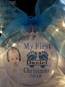 Customized baby's first Christmas floating ornaments