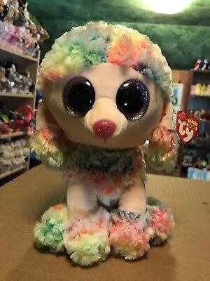 "Ty RAINBOW -Multicolored Tie-Dye Poodle Dog Medium 10"" Beanie Boo Buddy! *NEW*"