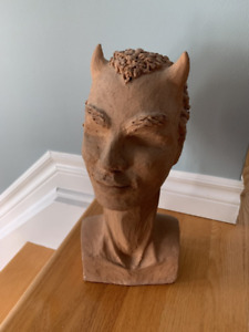 Vintage Signed Devil Head Pottery - Unusual Piece!