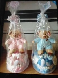 Baby nappy cakes and gift baskets