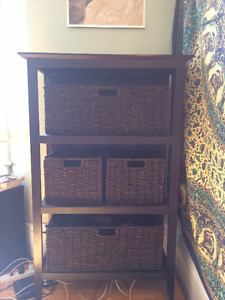 Wicker Basket Shelving Unit