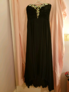 Formal strapless black gown