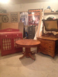 Antique Table, Dresser and Cabinet