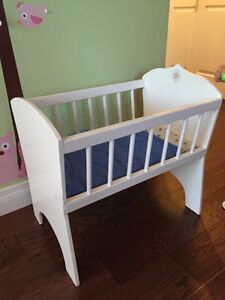 Wooden baby doll crib bed