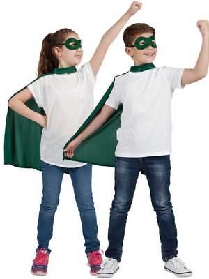 Childrens Super Hero Green Cape & Eyemask Fancy Dress Halloween Book Week Kids