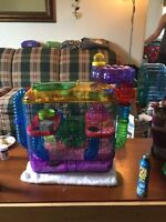 Hamsters with cage and supplies