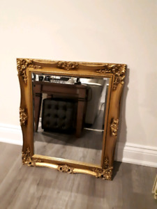 Antique ornate gold Picture  frame Bevelled Glass mirror