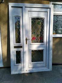 UPVC white double glazed door & side panel