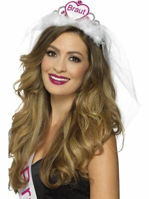 Rosa Blanco Braut Tiara Gallina Fiesta Noche Mujer Accesorio de Disfraz Novia