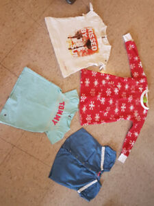 Kids cloth Size 4T. Red Christmas pajama and 3 t -shirts