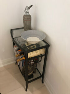 Standing Wine Rack / Side Table - Black and Glass