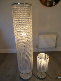 Set of matching clear cystal floor and table lamps