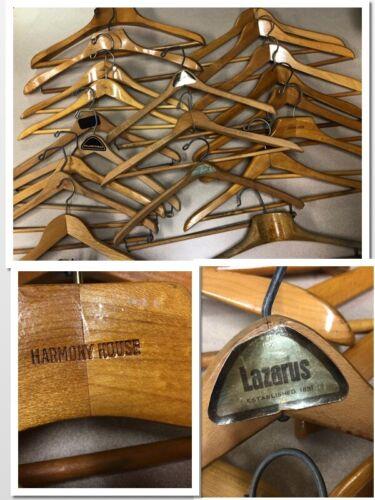HANGERS VINTAGE WOODEN Lot of 20 ADVERTISING Hilton Lazurus Harmony House 668053