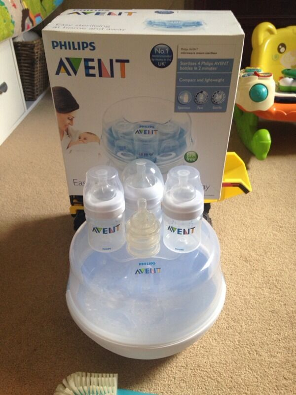 Avent Steam Steriliser and 3 Bottlesin Nottingham, NottinghamshireGumtree - Avent steam steriliser, sterilises 4 avent bottles in 2 minutes, in great condition. Missing small tongues, as I never used them! 3 x 4oz bottles, all with 3 x no1 and 2 teats. Bottle brush cleaner. From a smoke and pet free home