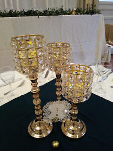 Gold crystal candle holders for wedding /shower/party