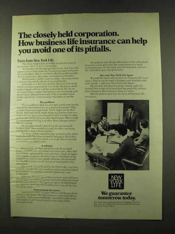 1973 New York Life Insurance Ad - Closely Held