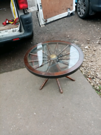 Coffee table /ships wheel with glass insert