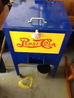 Old Pepsi Cola standing cooler.