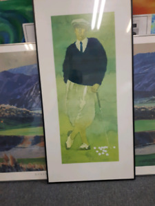 PROFESSIONALY FRAMED LITHOGRAPH OF GOLFER