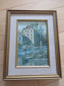 The Mill at Spirit Rapids ON. Painting framed Keirstead Canadian