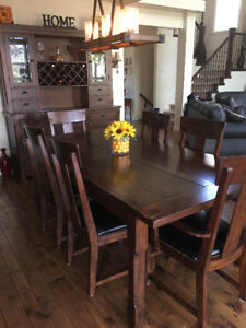 Post & Rail ~ Dining room table, 8 chairs & hutch
