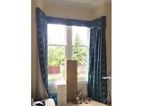 3m Turquoise silk embroidered blackout curtains