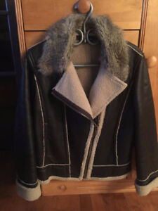 Manteau en cuir et mouton JONES NEW YORK style aviateur
