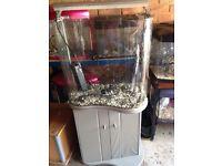 100L B Shaped Aquarium Fish Tank with Stand filter Heater